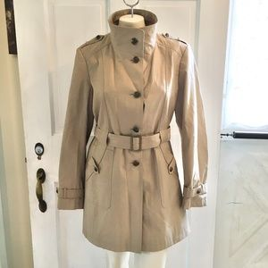 NEW GALLERY 1/2 Trench Coat Rain Belted Khaki SZ L
